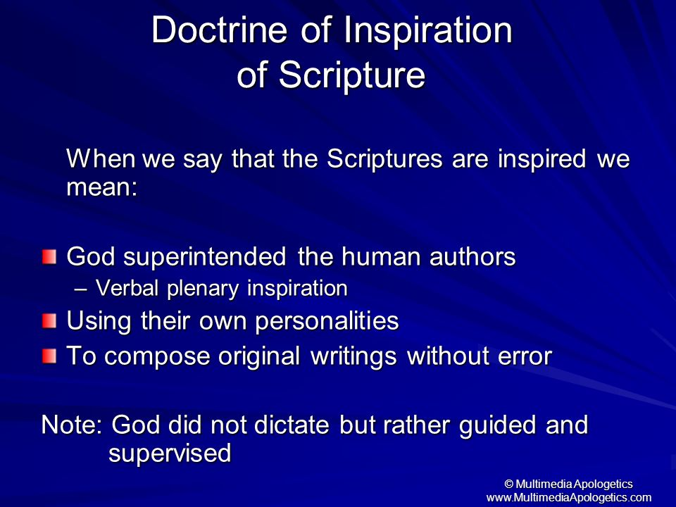 Doctrine of Inspiration of Scripture
