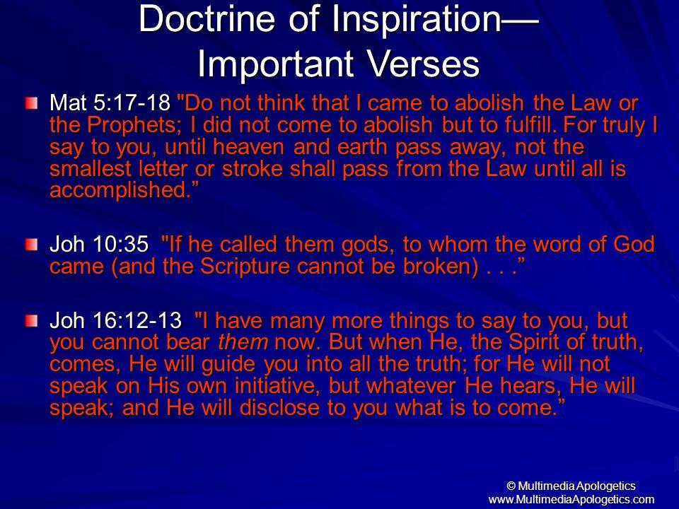 Doctrine of Inspiration— Important Verses