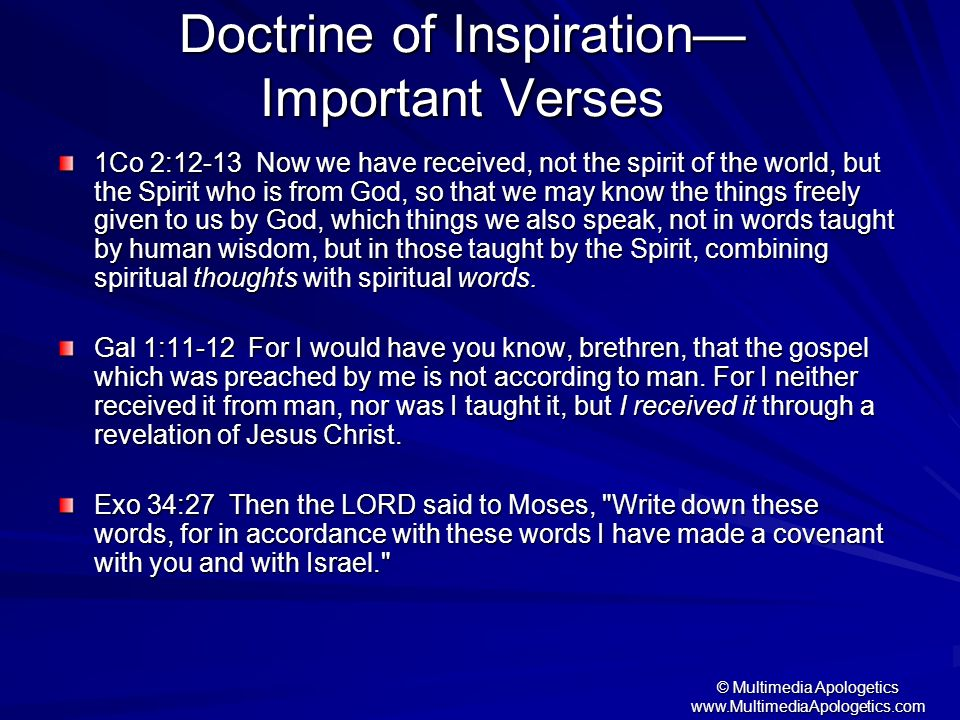 Doctrine of Inspiration— Important Verses