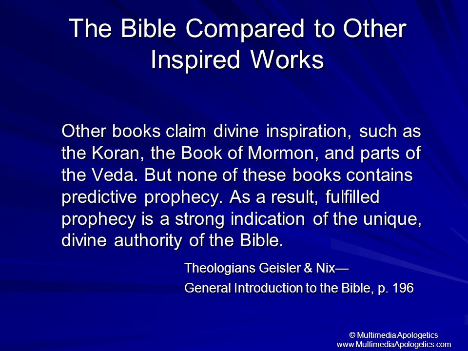 The Bible Compared to Other Inspired Works