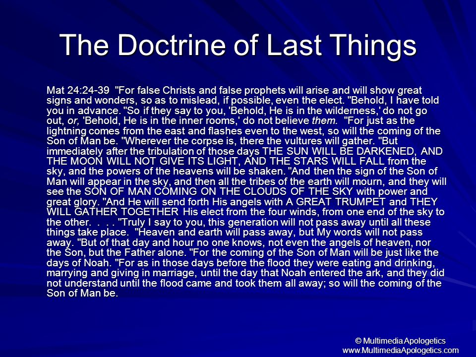 The Doctrine of Last Things