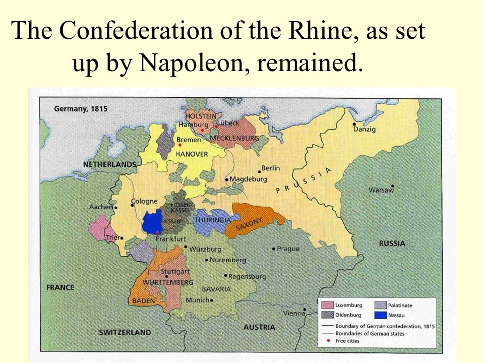 The Confederation of the Rhine, as set up by Napoleon, remained.