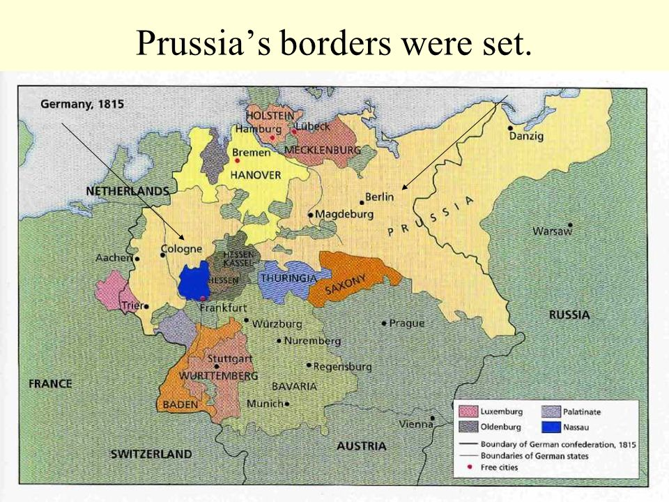 Prussia's borders were set.