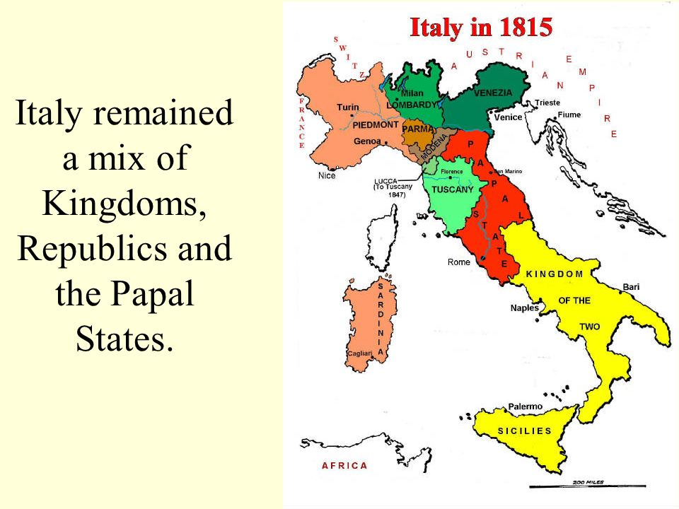 Italy remained a mix of Kingdoms, Republics and the Papal States.