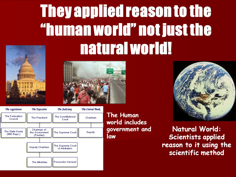 They applied reason to the human world not just the natural world!
