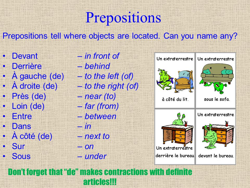 Don't forget that de makes contractions with definite articles!!!