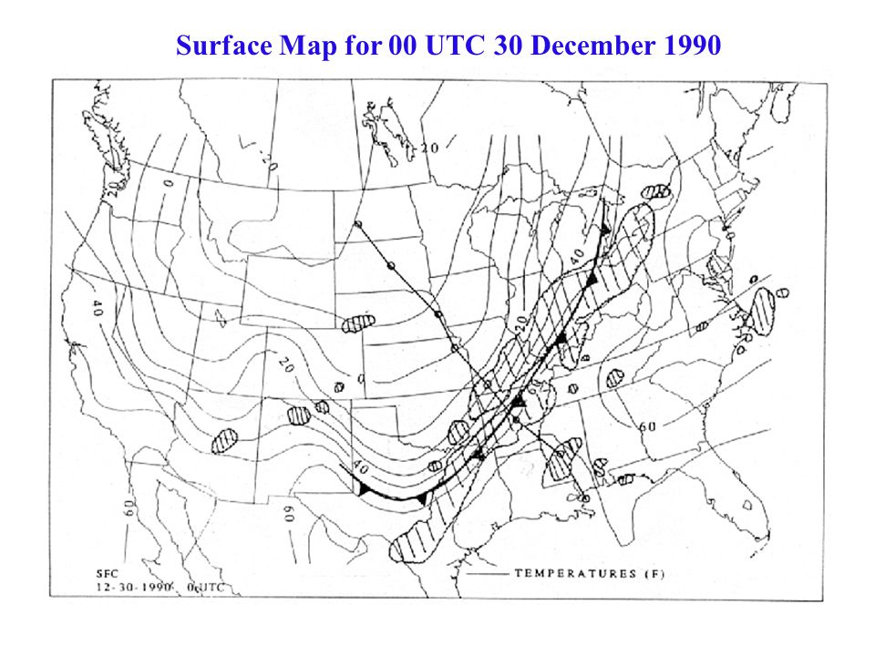 Surface Map for 00 UTC 30 December 1990