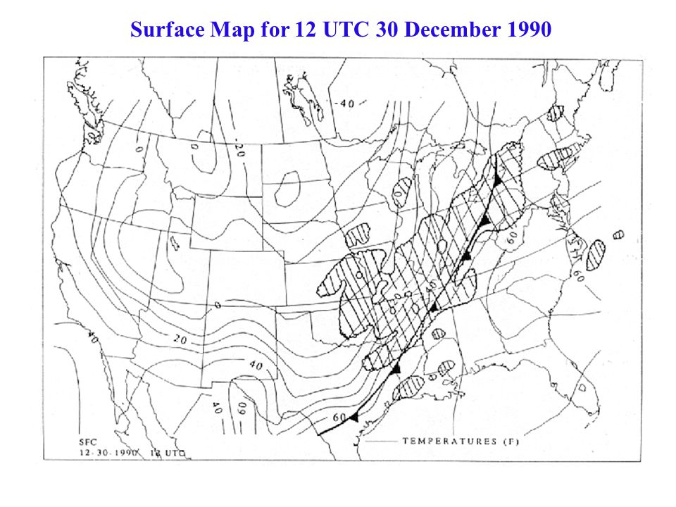Surface Map for 12 UTC 30 December 1990