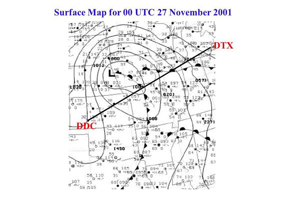 Surface Map for 00 UTC 27 November 2001