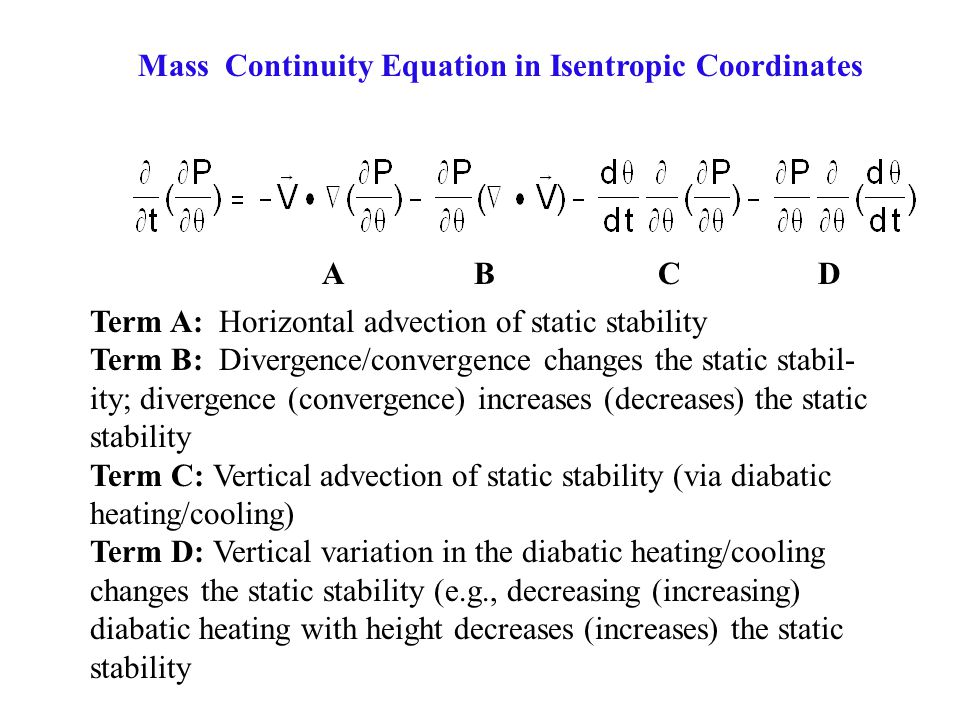 Mass Continuity Equation in Isentropic Coordinates
