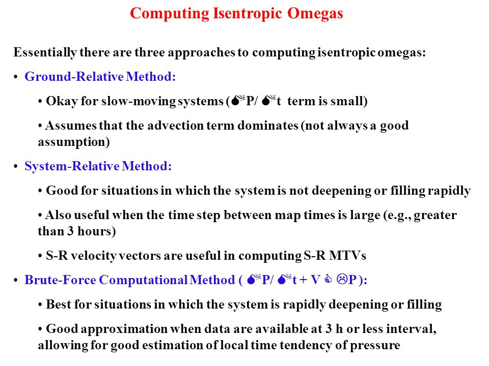 Computing Isentropic Omegas