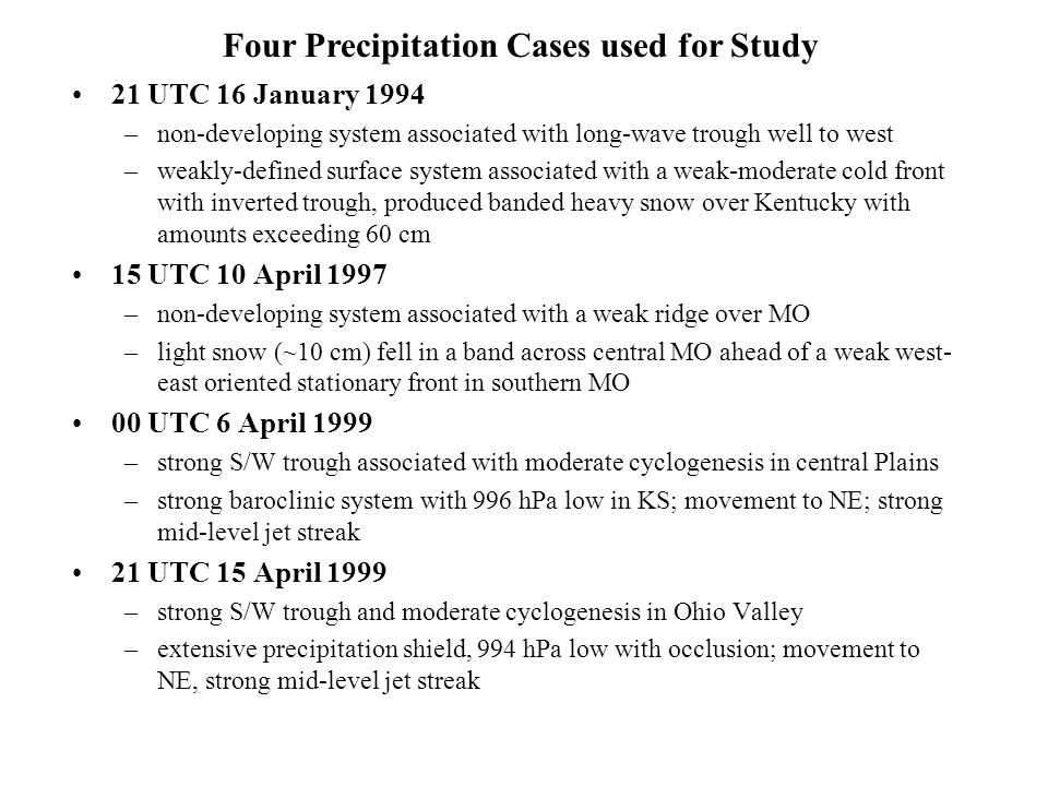 Four Precipitation Cases used for Study