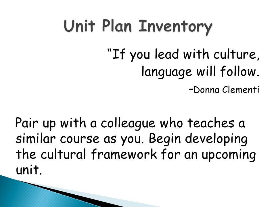 Unit Plan Inventory
