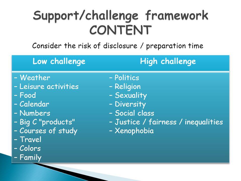 Support/challenge framework CONTENT