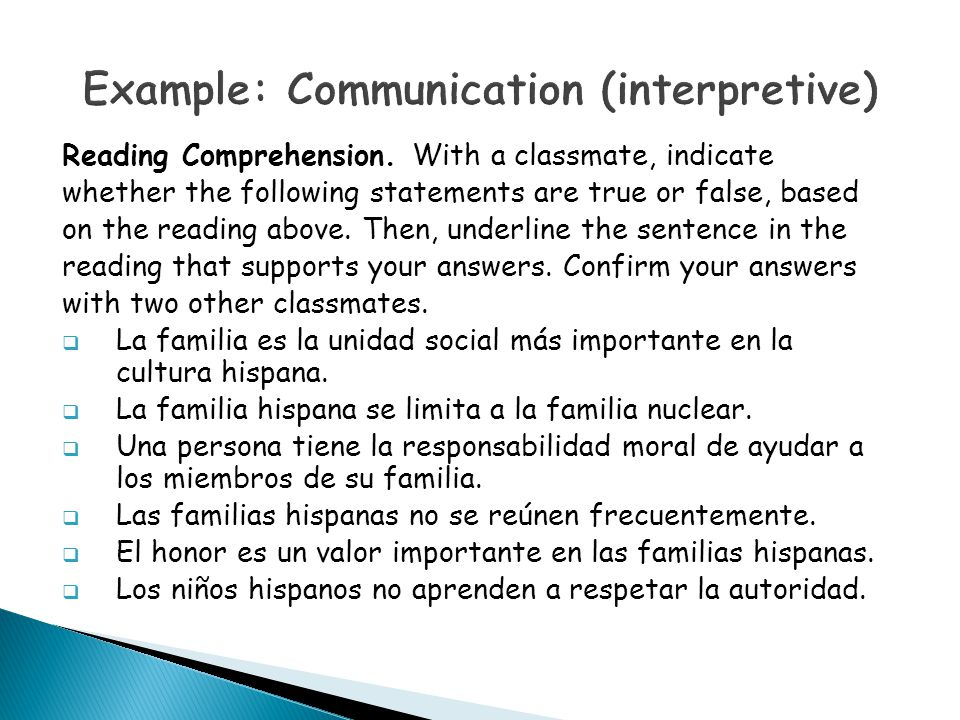 Example: Communication (interpretive)