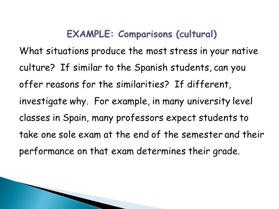 EXAMPLE: Comparisons (cultural)