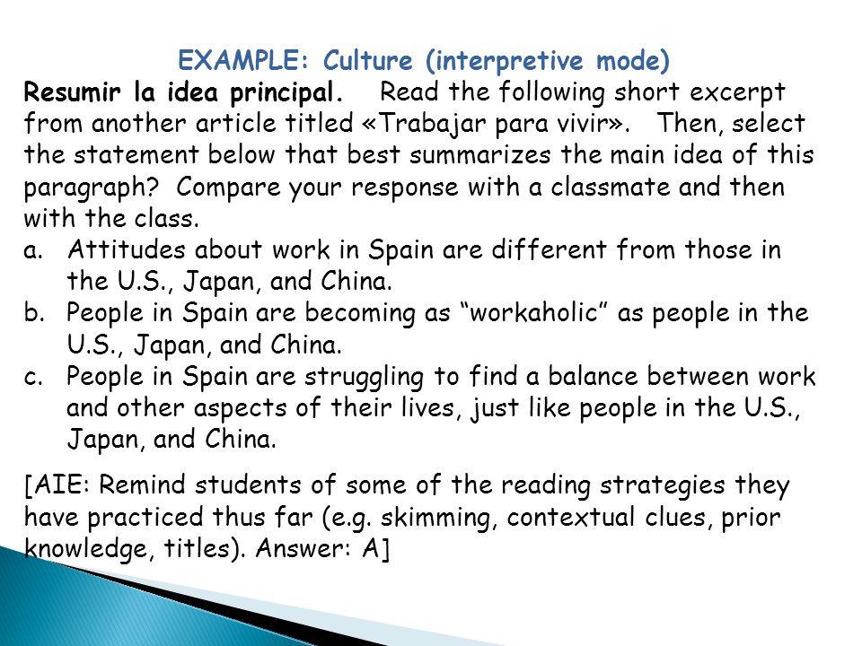EXAMPLE: Culture (interpretive mode)