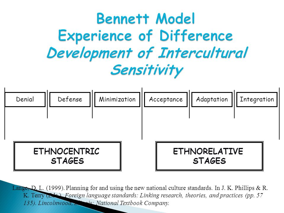 Bennett Model Experience of Difference Development of Intercultural Sensitivity