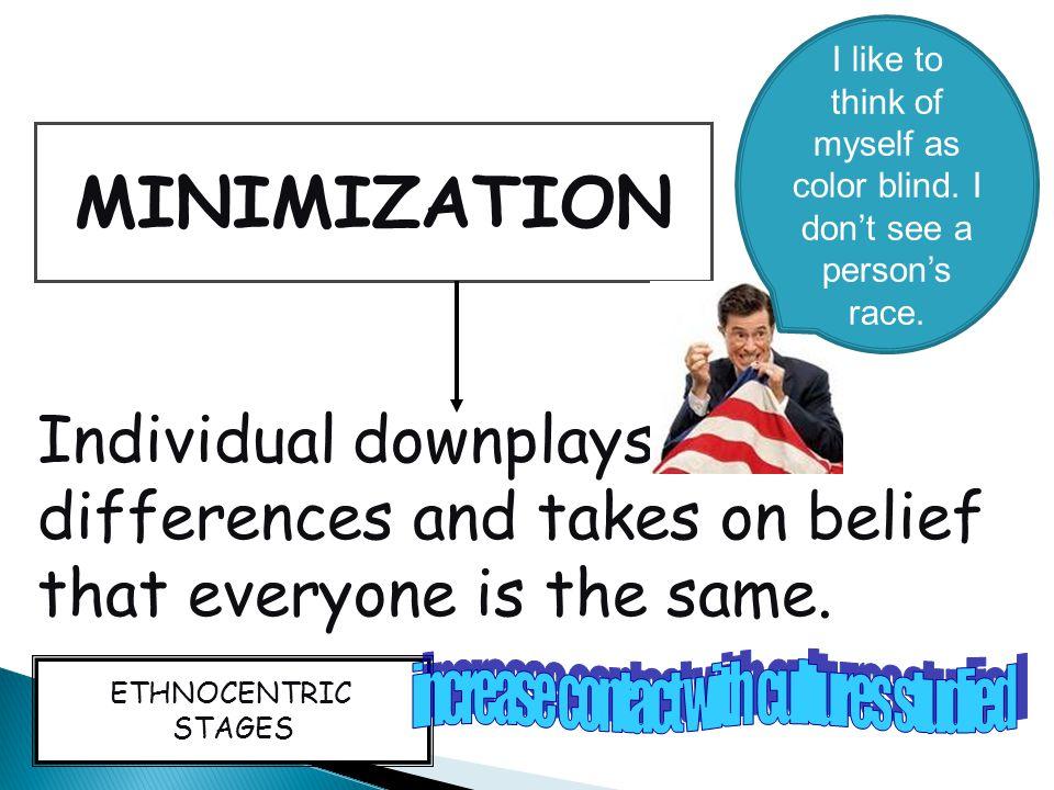 MINIMIZATION Individual downplays