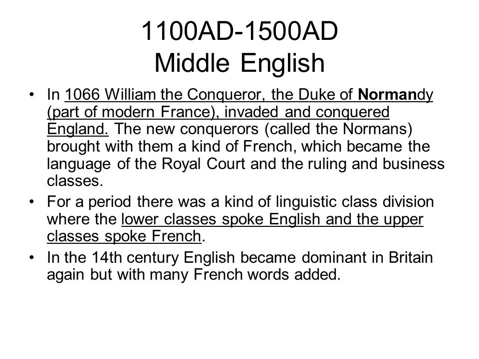1100AD-1500AD Middle English