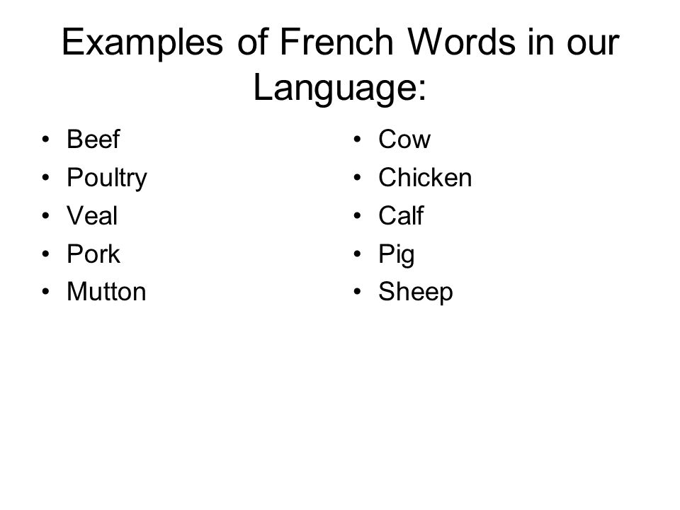 Examples of French Words in our Language: