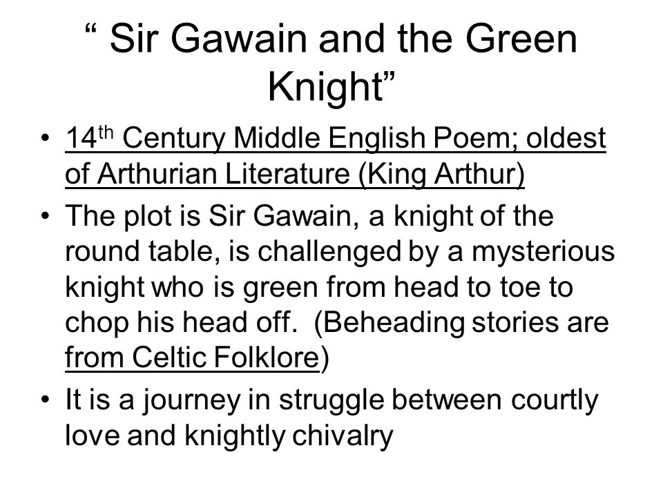 An analysis of the folk poem sir gawain and the green knight