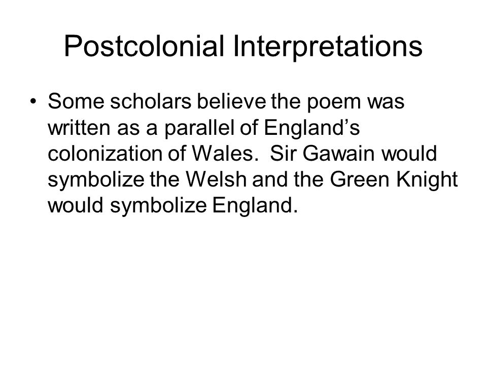 Postcolonial Interpretations