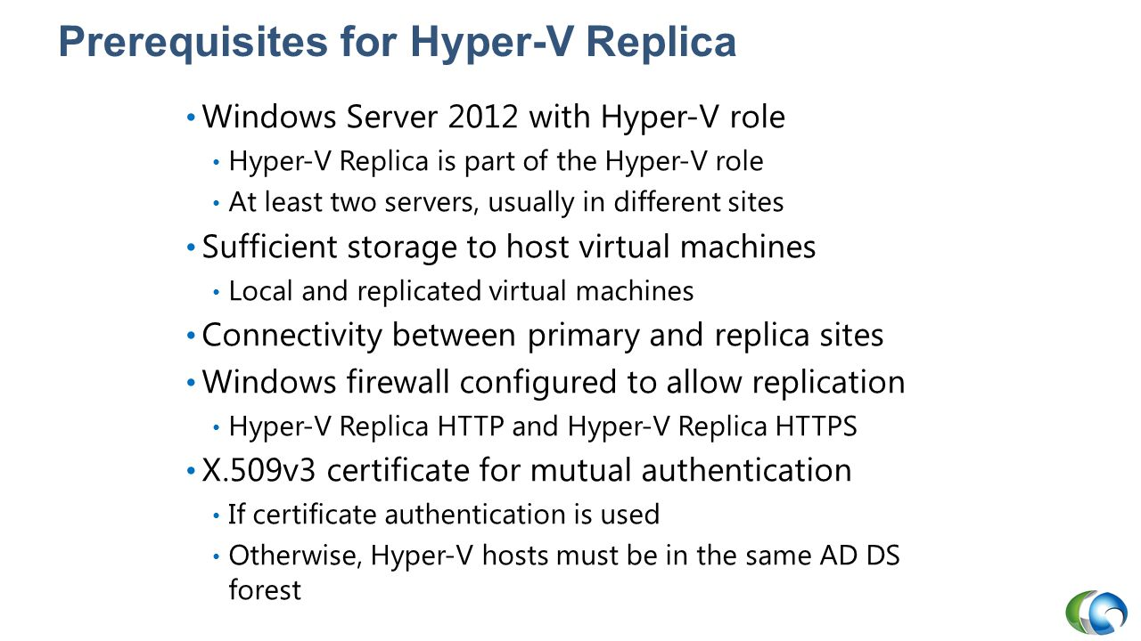 Prerequisites for Hyper-V Replica