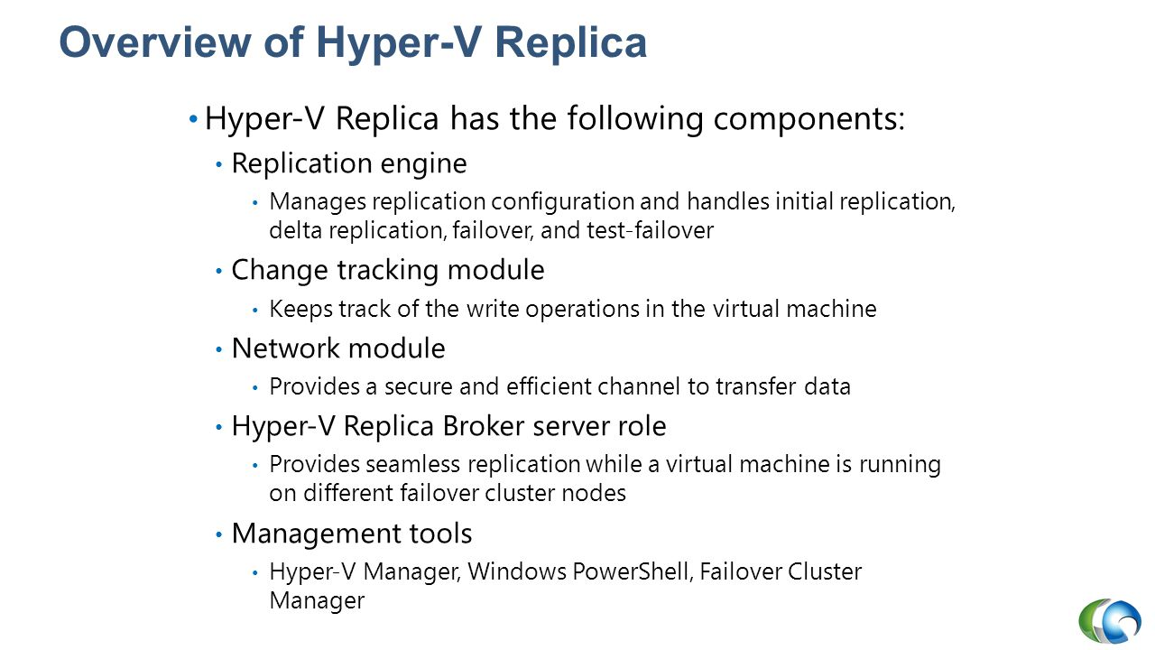 Overview of Hyper-V Replica