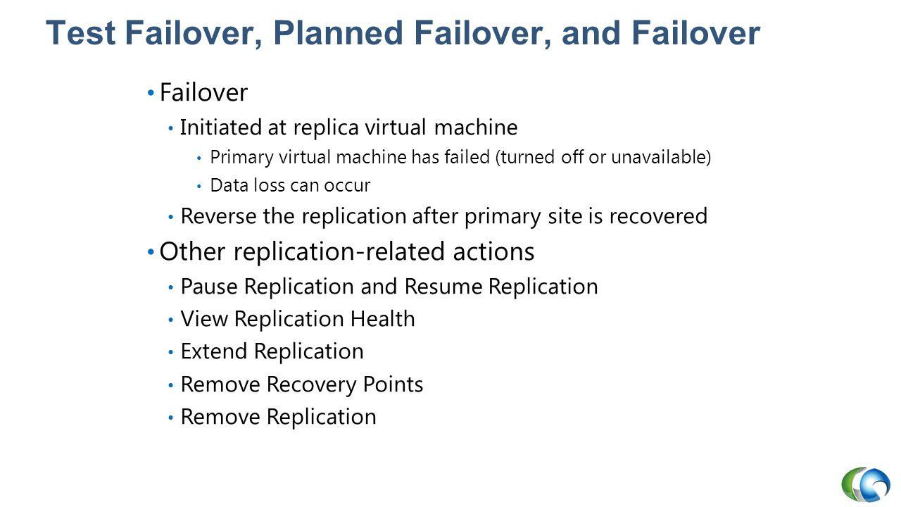Test Failover, Planned Failover, and Failover