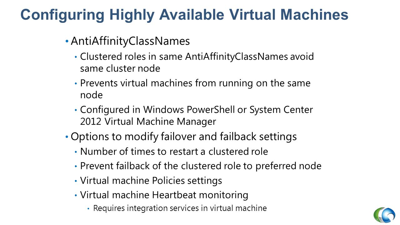 Configuring Highly Available Virtual Machines