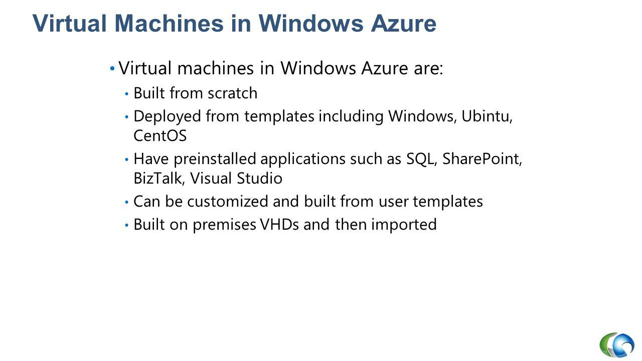 Virtual Machines in Windows Azure