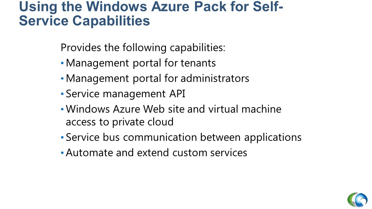 Using the Windows Azure Pack for Self-Service Capabilities