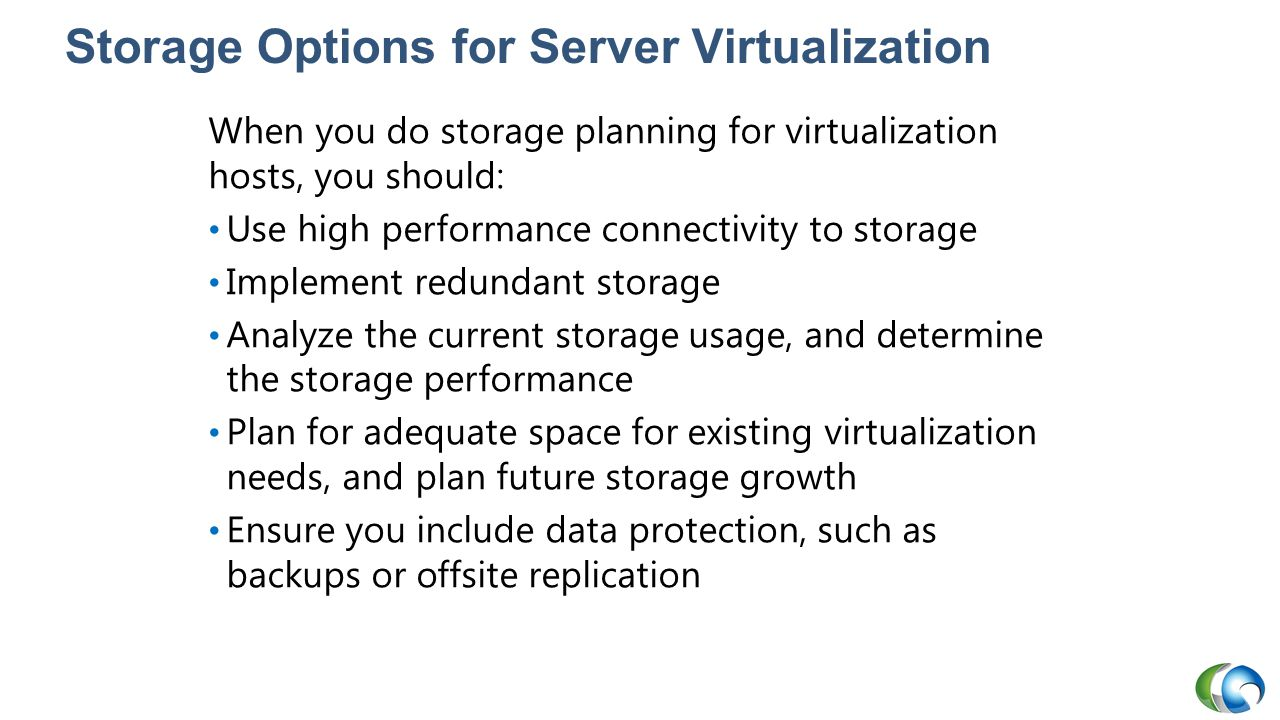 Storage Options for Server Virtualization