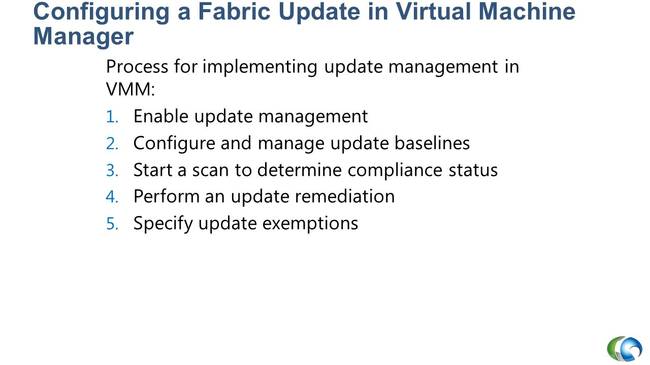 Configuring a Fabric Update in Virtual Machine Manager