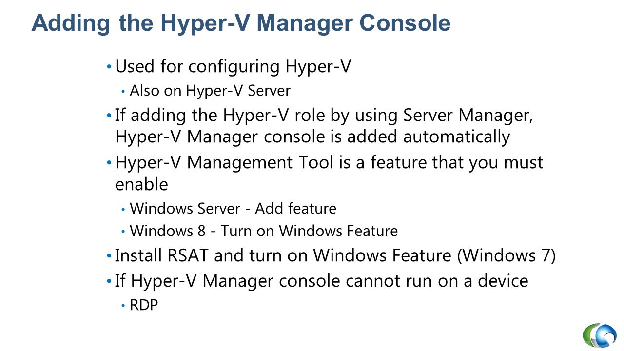 Adding the Hyper-V Manager Console