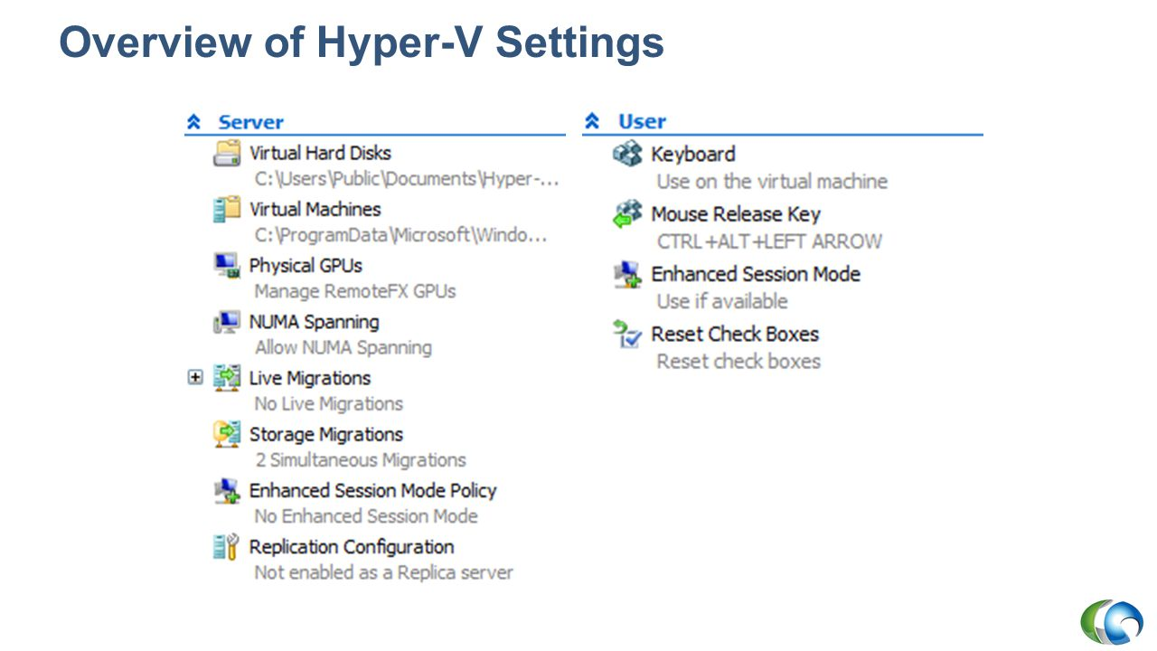 Overview of Hyper-V Settings