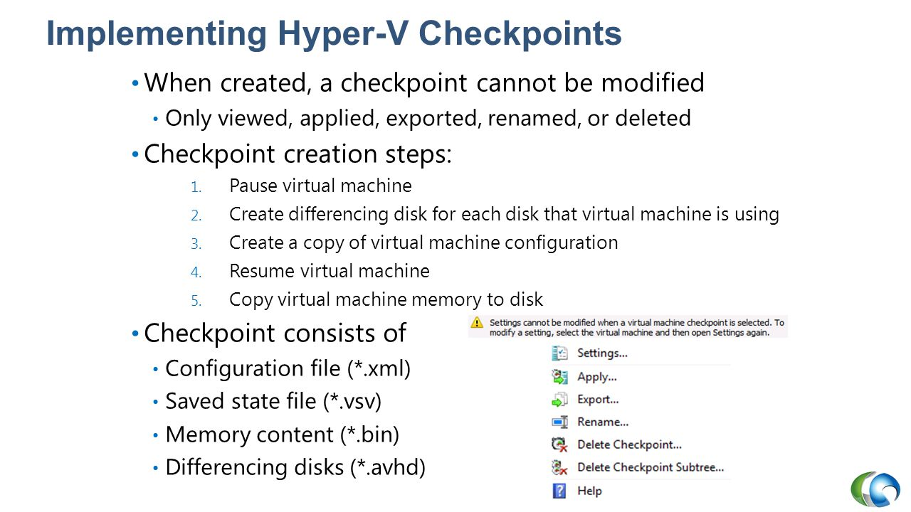 Implementing Hyper-V Checkpoints