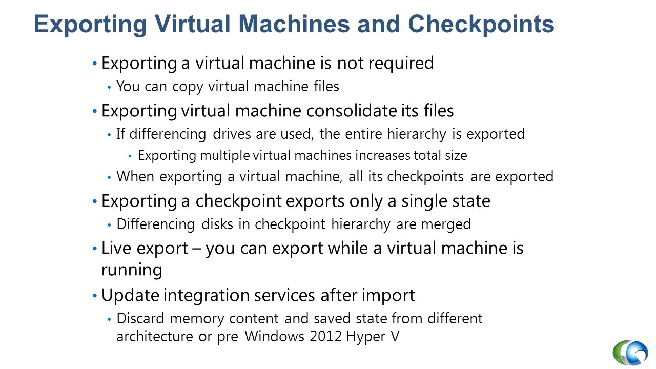 Exporting Virtual Machines and Checkpoints