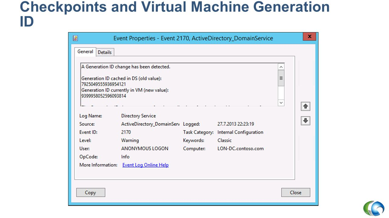 Checkpoints and Virtual Machine Generation ID