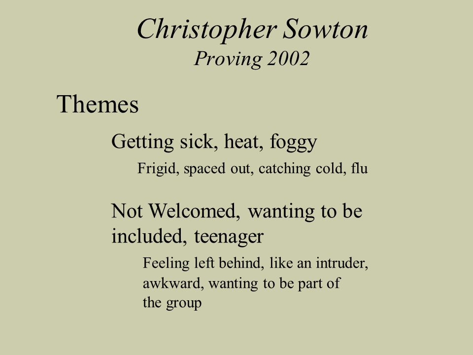 Christopher Sowton Proving 2002