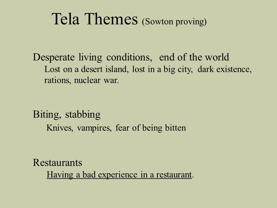 Tela Themes (Sowton proving)