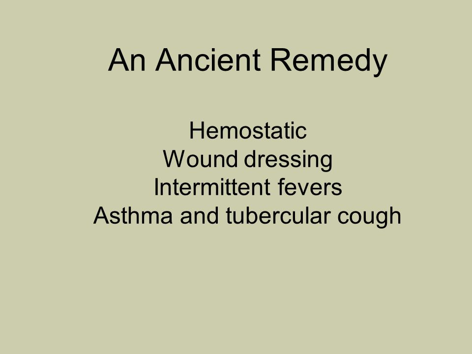 An Ancient Remedy Hemostatic Wound dressing Intermittent fevers Asthma and tubercular cough
