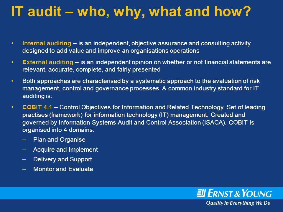 IT audit – who, why, what and how