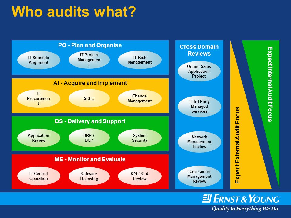 Who audits what PO - Plan and Organise Expect Internal Audit Focus