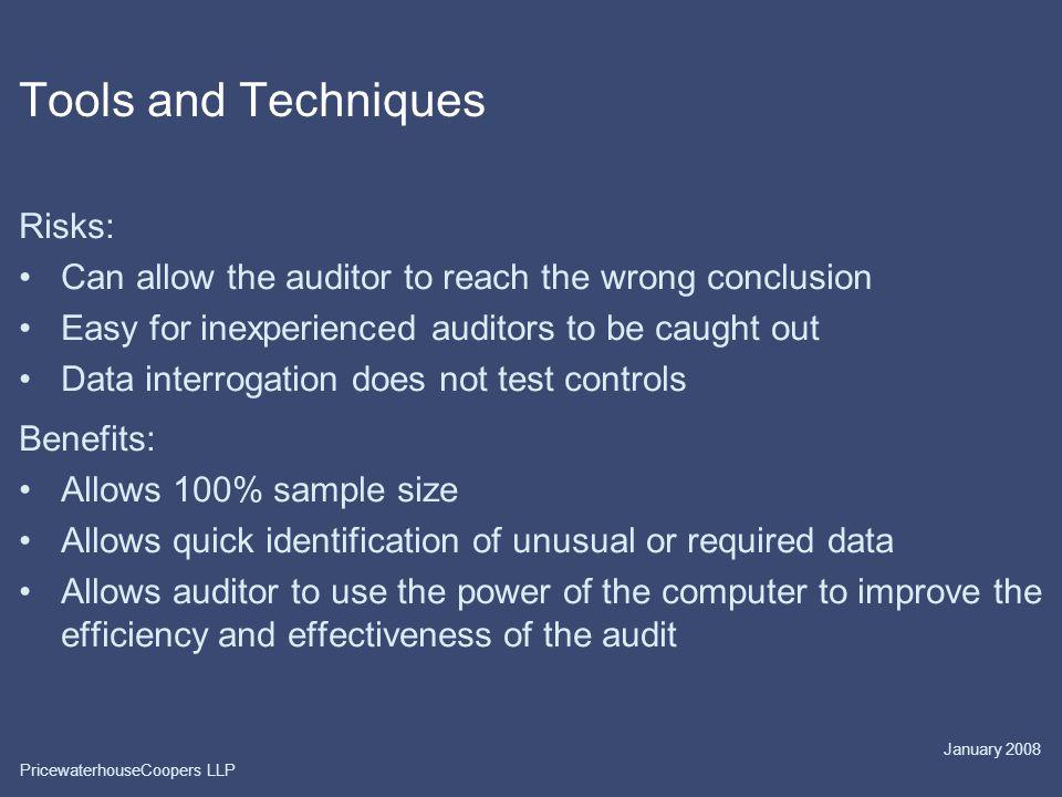 Tools and Techniques Risks: