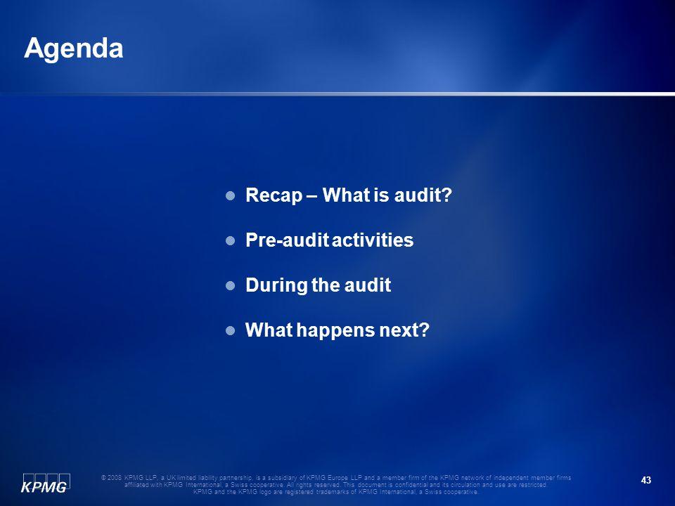 Agenda Recap – What is audit Pre-audit activities During the audit