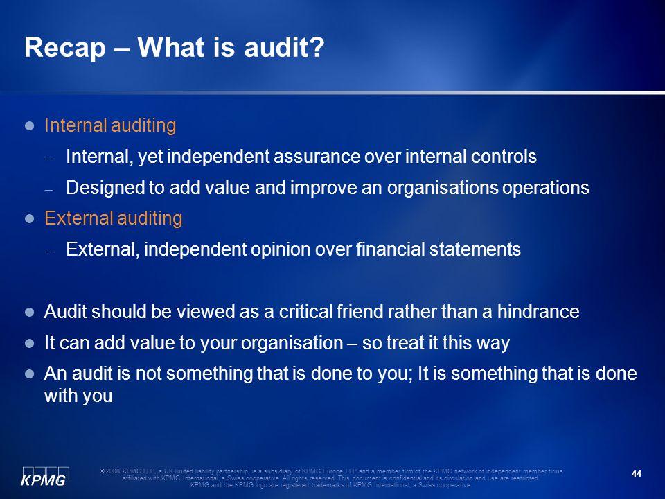 Recap – What is audit Internal auditing
