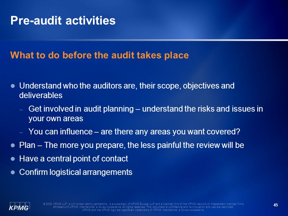 Pre-audit activities What to do before the audit takes place