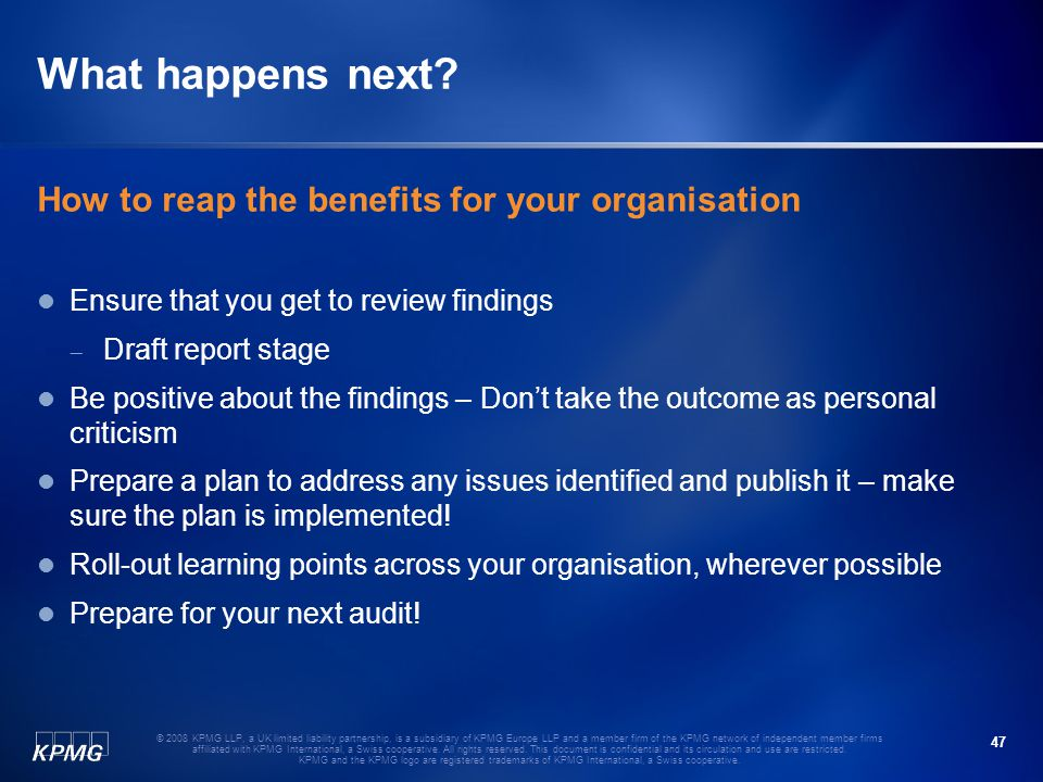What happens next How to reap the benefits for your organisation